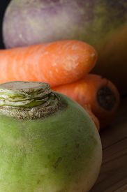 image of turnip greens  - Close up of unwashed - JPG