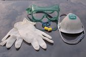 stock photo of nonwoven  - personal protective equipment ppe industrial safety equipment - JPG