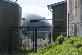 stock photo of biogas  - Part of a biogas plant energy from renewable resources - JPG