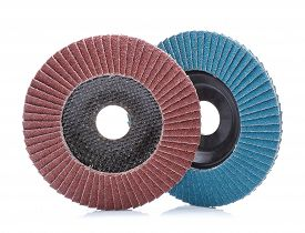 picture of abrasion  - Abrasive wheels isolated on white background in studio - JPG
