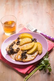 foto of indian apple  - escalope with apple  and black olives  - JPG