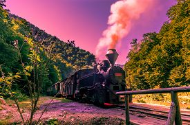 picture of steam  - Restored old vintage steam train built at Resita Romania - JPG