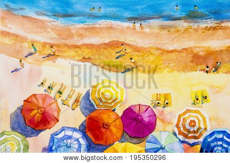 poster of Painting watercolor seascape Top view colorful of lovers family vacation and tourism in summer multi colored umbrella sea wave blue background. Painted Impressionist abstract image illustration.