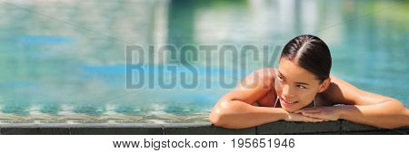poster of Swimming wellness resort spa woman relaxing banner in luxury retreat infinity pool hotel. Tropical t