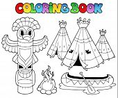 foto of indian totem pole  - Coloring book with totem  - JPG