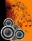 Musical poster on the background  grunge. Orange and black with notes.