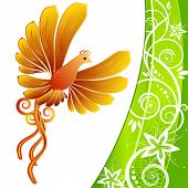 Orange Bird and green kerb decorated with beige patterns of flowers leaves spirals isolated on a white background VECTOR (See Jpeg Also In My Portfolio)