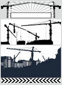 pic of construction crane  - Set vector illustration  silhouette crane - JPG