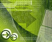 illustration of modern business. An abstract background technology and business elements on a green
