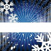 Vector version. Holiday background. Decor with rays, EQ, snowflakes and spirals on a blue background.