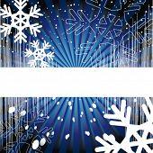 Versão de vetor. Fundo de férias. Decoração com raios, EQ, flocos de neve e espirais em um fundo azul