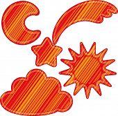 image of meteoric rain  - Set of  meteorology elements - JPG