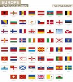 Postage Stamp With Europe Flags. Set Of 62 European Flag. poster