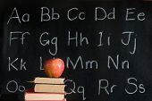 apple, books, alphabet: education