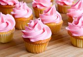 close-up of pink cupcake with icing