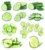 Collage of fresh cucumbers on white background poster