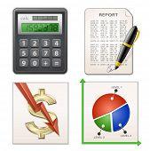 Financial Report Set. Calculator, pen, chart and financial report. Vector illustration.