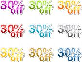Thirty percent off sales reduction marketing announcement sticker