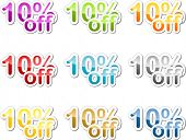 Ten percent off sales reduction marketing announcement sticker