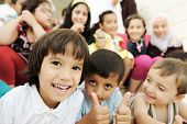 stock photo of muslim kids  - Large group - JPG
