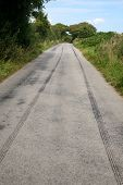 Long Skid Marks Left By A Speeding Car Braking.