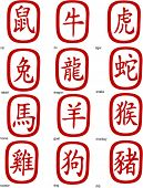 Chinese zodiac symbols - vector illustration. Easy to edit.