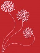 Three roses on a red background - graphic illustration.