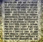 Stone plate with magic inscriptions - 3d illustration