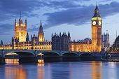 stock photo of bridge  - UK London Big Ben Tower Bridge Dusk - JPG