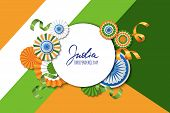 15Th Of August, India Independence Day. Vector Paper Stars In Indian Flag Colors, Ashoka Wheel, Hand poster