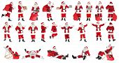 Collage of Santa Claus on white background poster