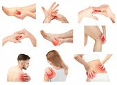 Collage with people suffering from pain in different parts of body on white background. Orthopedist  poster