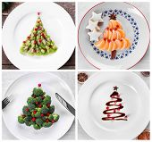 Collage of Christmas trees made of food on plates. Trendy ideas for festive dinner poster