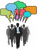 pic of person silhouette  - Social media business people walk and talk in color speech bubbles - JPG