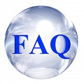 3d blue and white glass sphere isolated on white,with 3d symbol for web design buttons.faq sign.