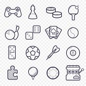 Games Linear Icons. Ping-pong, Golf, Billiards, Darts Leisure Activities. Gambling, Sport Game Line poster