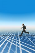 High resolution conceptual 3D businessman running on a rope above the clouds. The man is a render of a virtual 3D model.