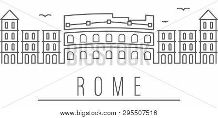 Rome City Outline Icon Elements