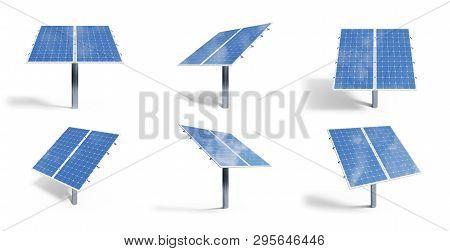 poster of 3d Illustration Solar Panels Isolated On White Background. Set Solar Panels With Reflection Beautifu