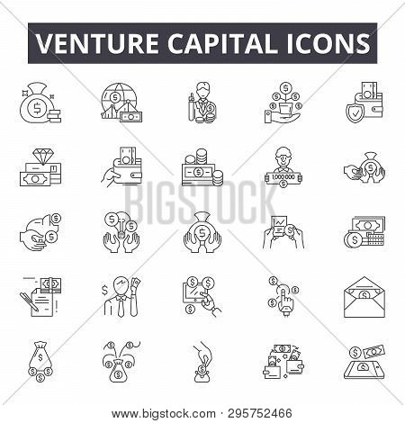 poster of Venture Capital Line Icons, Signs Set, Vector. Venture Capital Outline Concept, Illustration: Busine