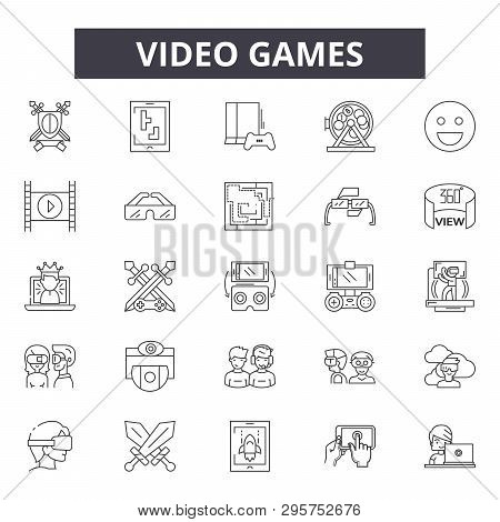 poster of Video Games Line Icons, Signs Set, Vector. Video Games Outline Concept, Illustration: Game, Video, C