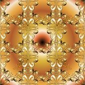 Fantasy Nice Illustration. Classic Vintage Background. Orient Beige And Brown Ornament For Fabric, W poster