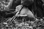 World War Ii Soviet Red Army Weapon. Submachine Gun Pps-43  On Ground. Wwii Ww2 Russian Ammunition.  poster