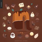 Dessert Font - Letter N - Modern Flat Vector Concept Digital Illustration Of Temptation Font, Sweet  poster
