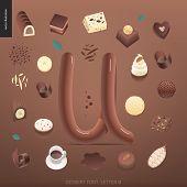 Dessert Font - Letter U - Modern Flat Vector Concept Digital Illustration Of Temptation Font, Sweet  poster