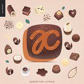 Dessert Font - Letter X - Modern Flat Vector Concept Digital Illustration Of Temptation Font, Sweet  poster