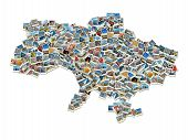 Map Of Ukraine- Collage Made Of Travel Photos With Ukrainian Landmarks poster