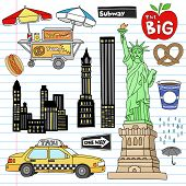 Stock Vector Illustration: New York City Manhattan Notebook Doodle Design Elements Set on Lined Sket
