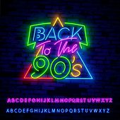 Back To The 90s Neon Sign Vector. 90 S Retro Style Design Template Neon Sign, Light Banner, Neon Sig poster