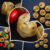 A Collage Of Photographs Of Italian Pasta. Fettuccia Noodles And Vegetables. Photo Collage. poster